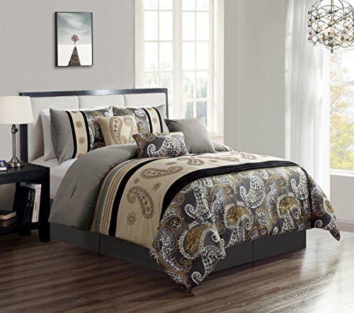 Green Living Group 7-Piece Paisley Embroidery Pleated Stripe Comforter Set, King ()