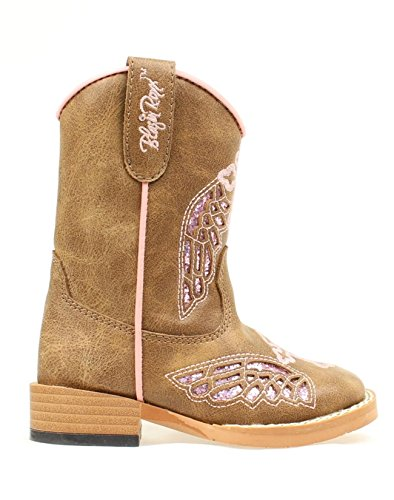 Blazin Roxx Girl's Gracie Side Zip Boots, Brown Man Made, 4 Toddler (Baby Western Boots)