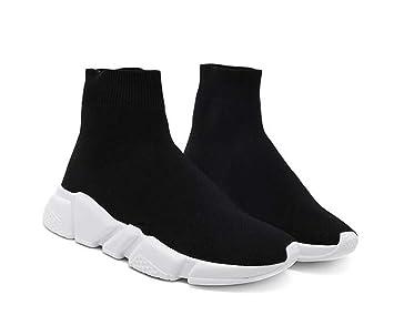 Onfly Unisex Pareja Zapatos Deportivos Calcetines Calcetines de Punto Bootie Calzado Punta Afilada de Color Puro Calcetines Elásticos Snekers Zapatos ...