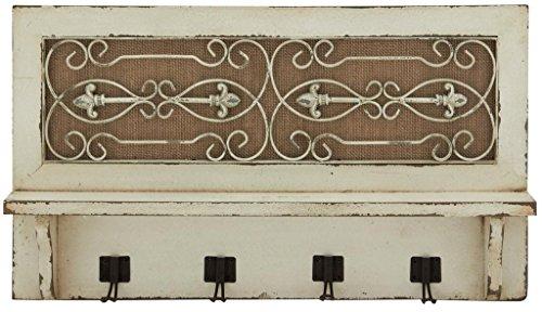 Deco 79 Wood Wall Hook Shelf, 24 by 14-Inch