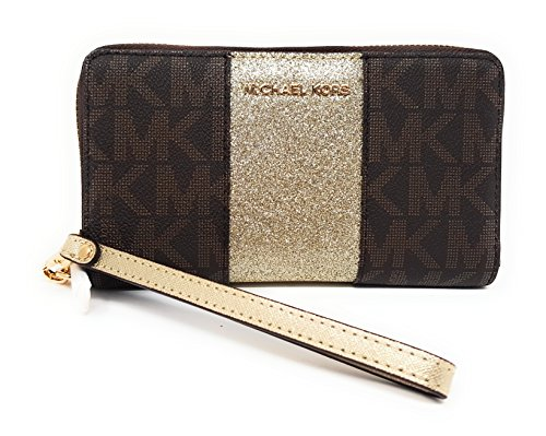 Michael Kors Giftables Jet Set MF Zip Phone Case Wristlet (Brown Center Stripe Pale Gold) by Michael Kors