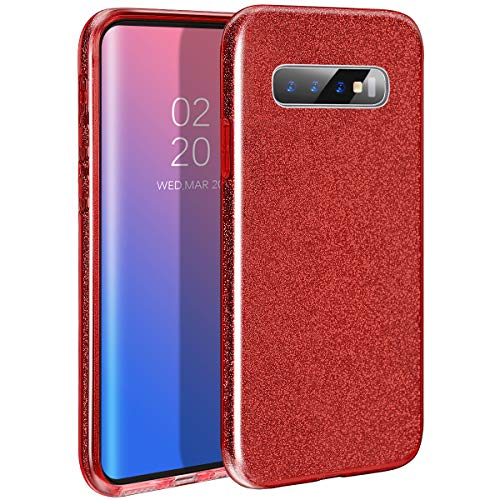 MILPROX Galaxy S10 Plus Case Shiny Glitter Sparkly Slim 3-in-1 Hybrid Structure Protective Case Compatible for Samsung Galaxy S10 Plus (Red)