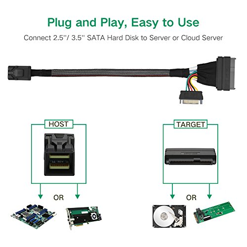 UGREEN Mini SAS HD Cable Internal Mini SAS SFF 8643 to U.2 SFF 8639 Cable with 15 Pin SATA Power Connector for Workstations,Servers and More.(1.5ft) by UGREEN (Image #1)