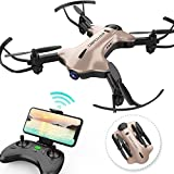 DBPOWER FPV RC Drone with 720P HD Wi-Fi Camera Live Video Feed 2.4GHz 6-Axis Gyro Quadcopter for Kids & Beginners - Altitude Hold, Foldable Arms, Headless Mode, One Key Take Off/Landing(Golden)