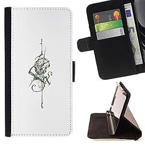 Momo Phone Case / Flip Funda de Cuero Case Cover - Serpent d'encre de tatouage de crâne Épée - Samsung Galaxy Core Prime