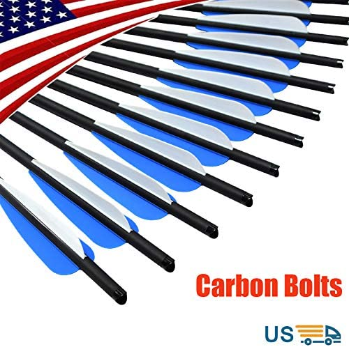 17 18 20 22 inch Crossbow Bolts Carbon Arrows with 4-Inch Vanes Replaceable Points Hunting Archery