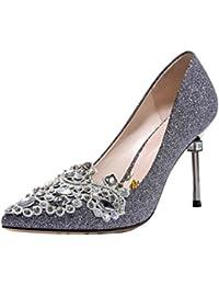 Women's Dress Pumps Rhinestone Pointed Toe Slip On...