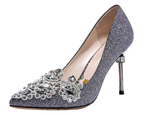 MOLECOLE Women's Dress Pumps Rhinestone Pointed Toe Slip On Elegant Wedding Evening Party Heels Pewter 8B (Party Shoes Heel)