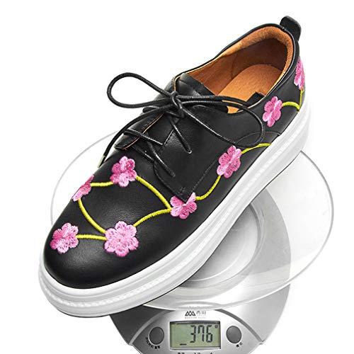 Bas Wedge Casual Noir 40 Chaussures En Brodés Cuir Lacets Dames Femmes Yan top Black forme Automne black À Printemps Plate fqnOaZ4Y
