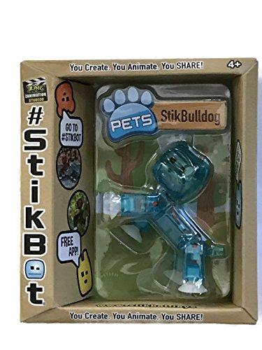 Stikbot, StikBulldog Figure, Translucent Blue