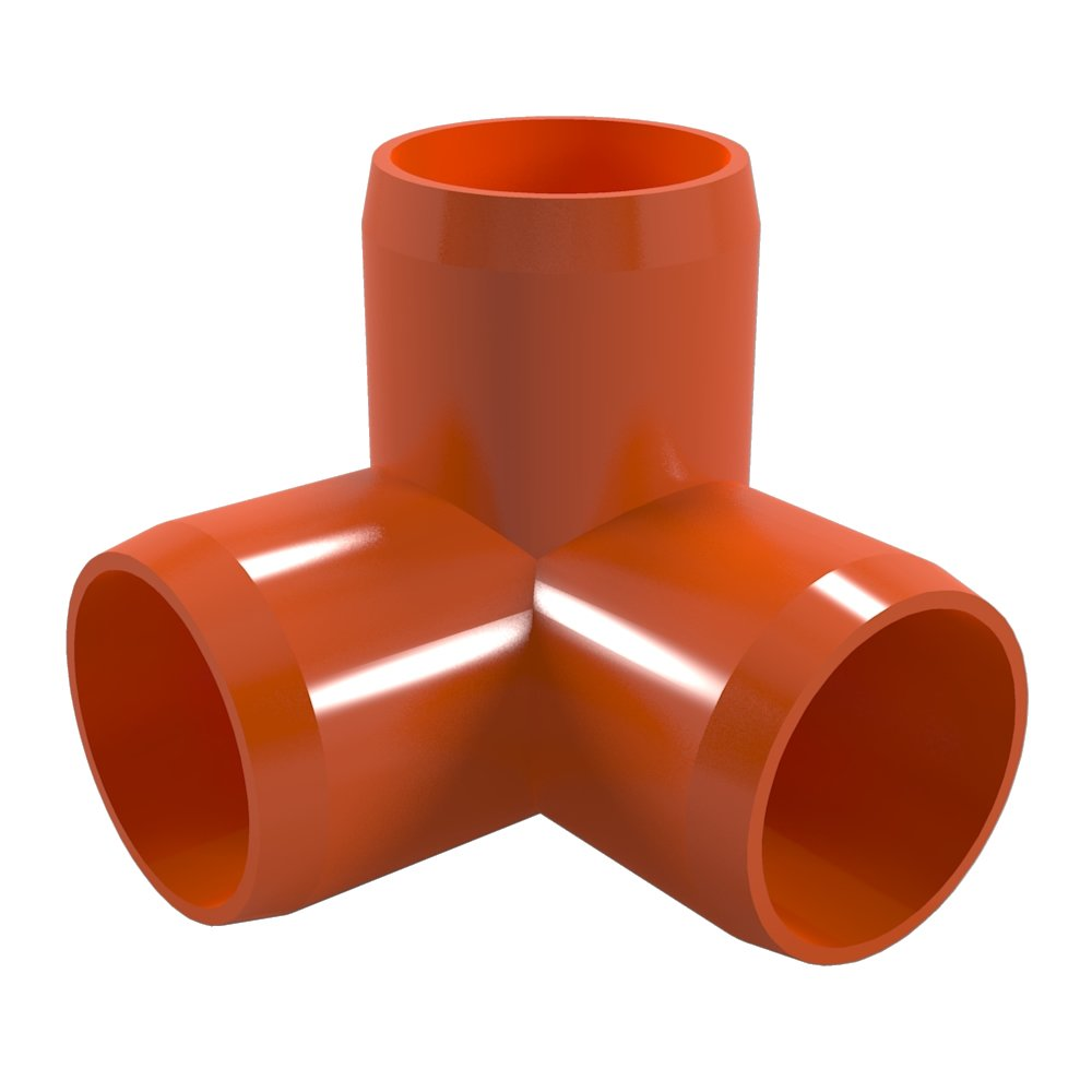 "FORMUFIT F0123WE-OR-10 3-Way Elbow PVC Fitting, Furniture Grade, 1/2"" Size, Orange (Pack of 10)"