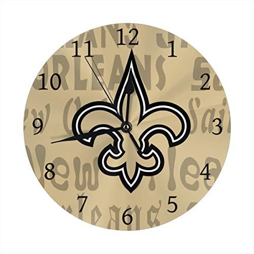 (Gdcover Custom New Orleans Saints Quartz Wall Clock Arabic Numerals Silent Non-Ticking for Home Living Room Decor (9.8 Inch))