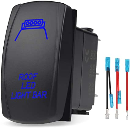 lighted switch 20A 12v Marine WATERPROOF Boat Switch = = Blue LED light
