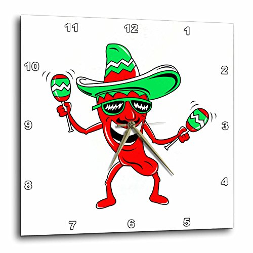 Pepper Maracas Sombrero Sunglasses-Wall Clock - pepper wall decor