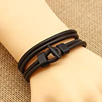 1x Unisex Fashion Brown Multilayer Wrap Wristband Leather Surfer Bracelet Bangle