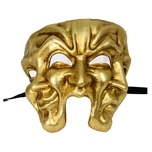 Largemouth Authentic Italian Made Traditional Venetian 3-Face Mask (Gold) Commedia Dellarte Mask