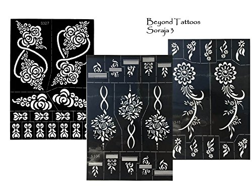 3 sheets tattoo schablonen vorlagen henna designs f r. Black Bedroom Furniture Sets. Home Design Ideas