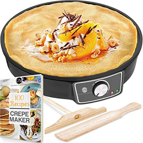 Crepe Maker Machine Pancake Griddle – Nonstick 12″ Electric Griddle – Pancake Maker, Batter Spreader, Wooden Spatula – Crepe Pan for Roti, Tortilla, Blintzes – Portable, Compact, Easy Clean