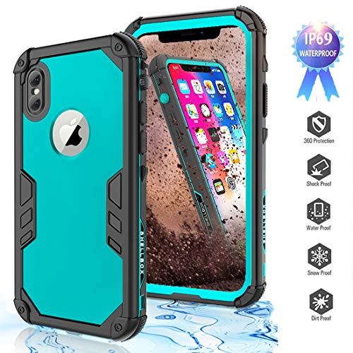 YOGRE Waterproof Case for iPhone Xs/iPhone X, IP69 Certified for Snowproof Dustproof and Dropproof Cover Cases, Full-Body Protective Phone Case with Built-in Screen Protector, 5.8 inch (Blue)