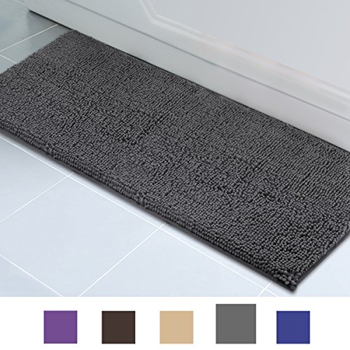 ITSOFT Non-slip Shaggy Chenille Soft Microfibers Bathroom Rug and Bath mat Water Absorbent, Machine Washable, 21 x 47 Inch Charcoalgray