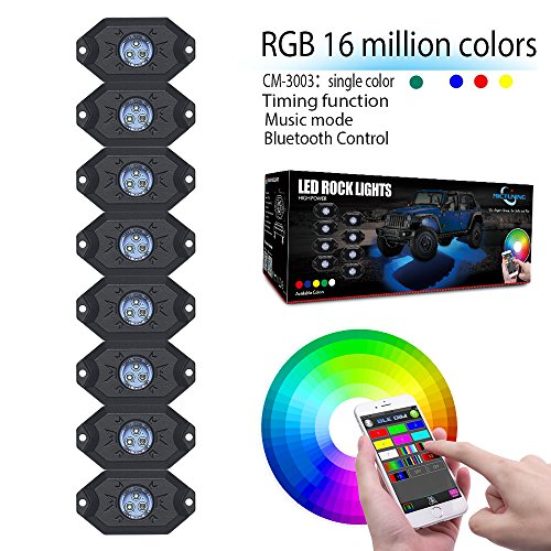 MICTUNING 2nd-Gen RGB LED Rock Lights with Bluetooth Controller, Timing Function, Music Mode - 8 Pods Multicolor Neon LED Light Kit (Bluetooth Light Controller)
