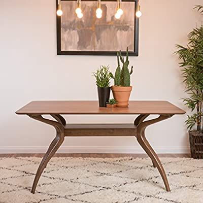 Mabel Natural Walnut Finish Wood Mid Century Modern Dining Table - Includes: One (1) Table Dimensions: 35.43 inches deep x 59.06 inches wide x 29.53 inches high Assembly Required - kitchen-dining-room-furniture, kitchen-dining-room, dining-sets - 51lze3LxSEL. SS400  -