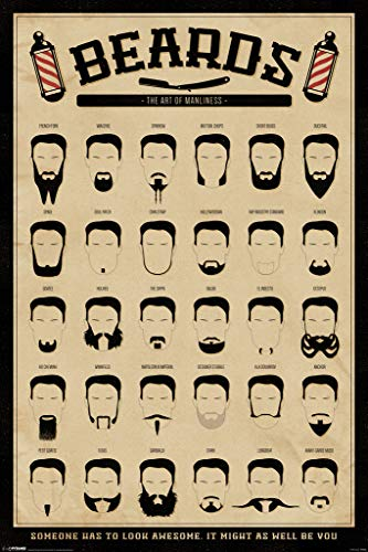 Pyramid America Beards The Art of Manliness Facial Hair Chart Barber Poster 12x18 inch]()