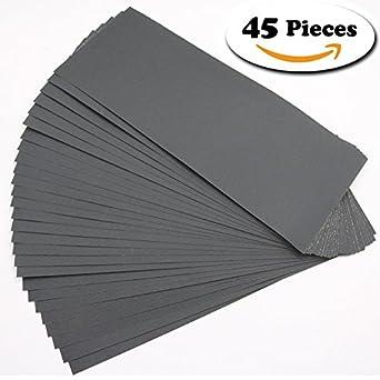 Canyoze 120 to 3000 Grit Sandpaper Assortment, Dry Wet abrasive paper, 45 Pcs sand paper for Automotive Sanding, Wood Furniture Finishing, Wood Turning Finishing, 9 x 3.6 Inch