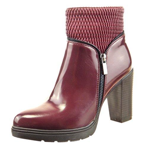 Sopily - Chaussure Mode Bottine Motard Cheville femmes Talon haut bloc 9 CM - Rouge