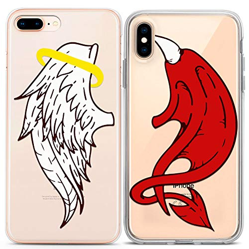 Lex Altern Cute iPhone Case Xs Max X Xr 10 8 Plus 7 6s 6 SE 5s 5 TPU Angel Devil Wings Kawaii Funky Clear Matching Silicone Red White Gift -