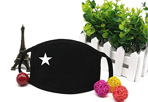 2Pcs Unisex Star Pattern Fashion Black Earloop Mask Anti-dus