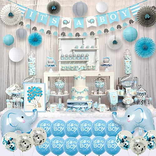 143 Pieces Blue Elephant Baby Shower Decorations for Boy Party Supplies Kit with Guest Book It's a boy Banner Garland Paper Fans Lanterns Cake Toppers Sash Gift Tags and Balloons -
