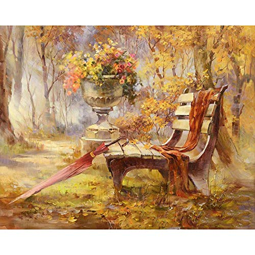 Paint by Numbers DIY Oil Painting Park Bench Adults and Children Oil Painting Kit and Brush for Decorations Gifts 16x20inch (40x50cm) [No Frame]