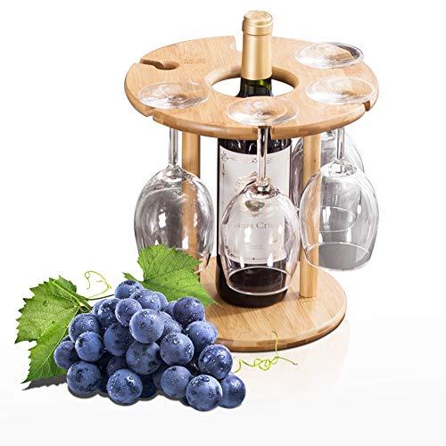 (Luxury Wine Glass Holder, 100% Natural Bamboo Wine Bottle Holder, 100% Handmade Countertop Wine Rack with 6 Glass Rack & 1 Bottle Holder, Ideal Christmas Gift for Wine Lover)