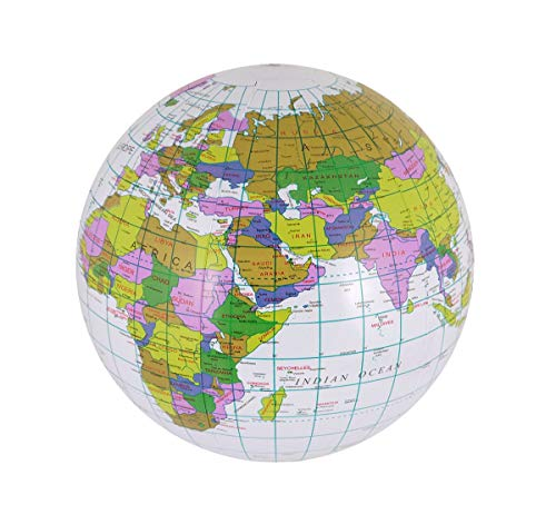 My Choice Stuff Inflatable Globe Map Ball 40cm Blow Up Toy Kids Atlas Educational Earth Beach Ball (Pack of ()