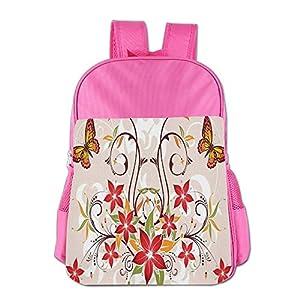 Mokjeiij Butterflies And Flourishing Swirled Blossoms Bouquet Botany Artsy Image Unisex Girls Boys School Backpack Children's