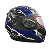 Motorcycle Full Face Helmet DOT Street Legal +2 Visors Comes with Clear Shield and Free Smoked Shield (L, SPIKES Blue)