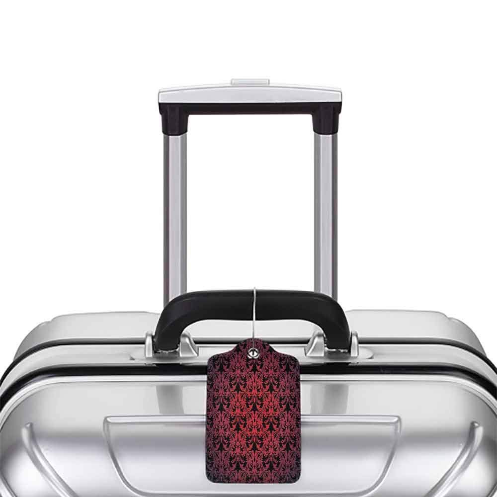 Multicolor luggage tag Red and Black Victorian Antique Old European Design Floral Swirls and Leaves Ombre Image Hanging on the suitcase Burgundy W2.7 x L4.6