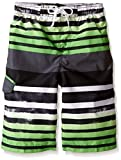 Kanu Surf Big Boys' Reflection Stripe Swim Trunk, Black/Green, Medium (10/12)