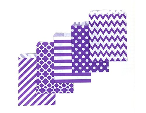 80 Counts Medium Purple Biodegradable, Food Safe Ink & Paper, Assorted 5 Designs Cookie Bag, Eco-Friendly Favor Bag, Treat Bag for Party (Medium, Purple)