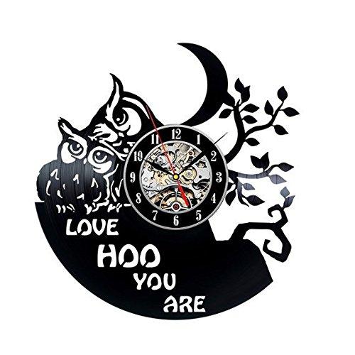Crazypicky Children Room Decor Little Owl Vinyl Record Wall Clock Gift for Kids Night Owl Animal Wall Clock Vintage Lp Wall Clock Large Handmade Clock by Crazypicky