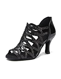 Minitoo Women's Cut-out Zip Synthetic Latin Ballroom Tango Salsa Dance Shoes Wedding Party Sandals