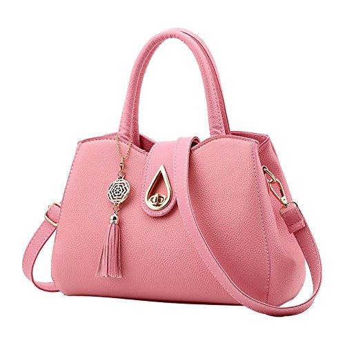 SHUhua - Bolso mochila  de Piel para mujer Rosa