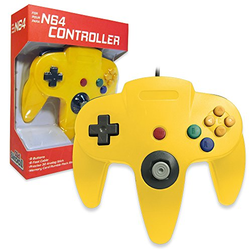 Old Skool Classic Wired Controller Joystick for Nintendo 64 N64 Game System - Yellow (Old Nintendo 64 Games)