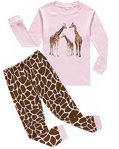 Babylike Pajamas Little Girls Sleepwears Set Pajamas 100% Cotton Clothes Toddler Kid (3T, giraffe/pink)