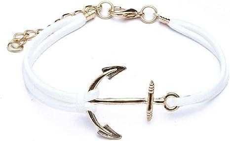 SODIAL (R) Pulsera Anclas de Oro de aleacion Cuerda Blanca para Mujer Idea Regalo: Amazon.es: Deportes y aire libre