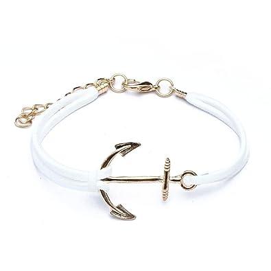 SODIAL(R) Bracelet Blanc en Alliage ancres corde Ideal Cadeau des Femmes