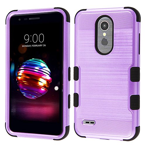 TUFF Series LG Premier Pro Case, Military Grade Drop Tested [MIL-STD 810G-516.6] [Metallic Brush Finish] Impact Resistant Protective Cover Case and Atom Cloth for LG Premier Pro 4G LTE L413DL - Purple