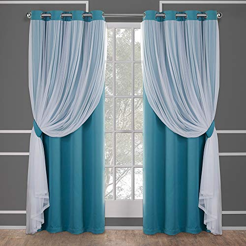 Exclusive Home Curtains Catarina Layered Solid Blackout and Sheer Window Curtain Panel Pair with Grommet Top, 52x84, Turquoise, 2 Piece -
