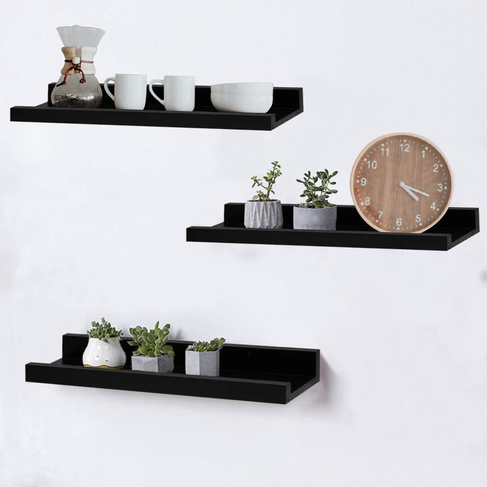 Shelving Solution 16-inch Floating Wall Shelves, Set of 3, Black